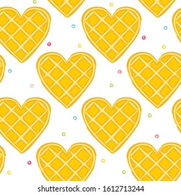 Seamless vector pattern of waffle hearts. Background on the theme of love, wedding and Valentine's Day.