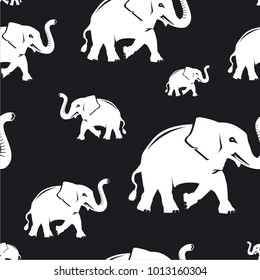 Seamless vector pattern wallpaper elephants