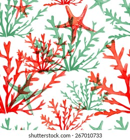Seamless vector pattern. Watercolor texture. Sea. Vector background with starfish and water plant. Can be used for wallpaper, pack, banner, web page. Seaweed, alga.
