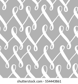 Seamless vector pattern with white hand drawn lines on grey background