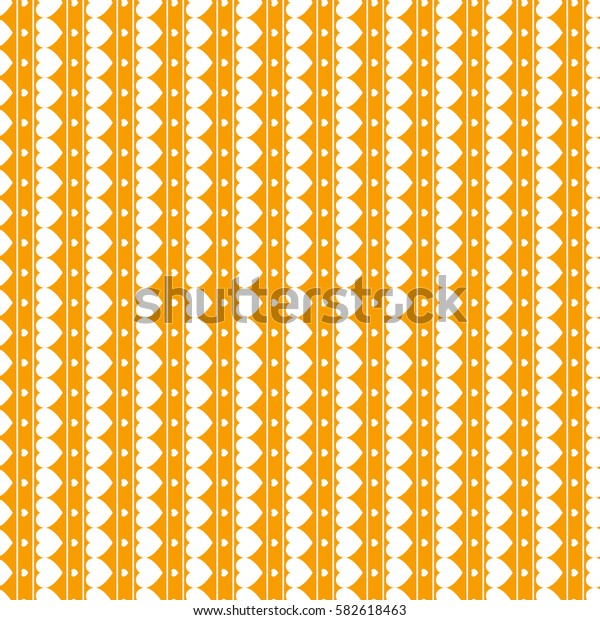 Seamless vector pattern with white hearts on orange background