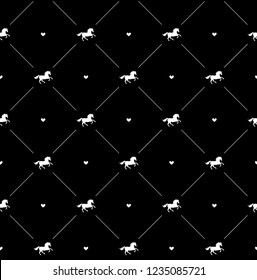 Seamless vector pattern of white horse silhouette and heart isolated on black background