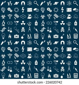 Seamless vector pattern with white science symbols