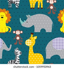 Seamless vector pattern whith cute textile animals