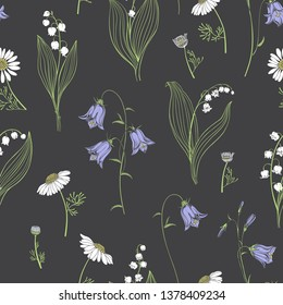 Seamless vector pattern with wild flowers on a dark background. Lilies of the valley, chamomile and flowers bluebells. Nature background.