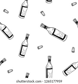 seamless vector pattern, wine bottles and glasses sketch, hand drawn, isolated on white background