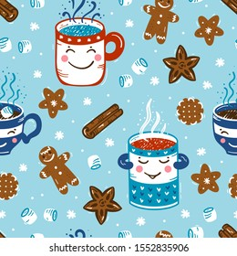 Seamless Vector Pattern of Winter Hot Drinks and Sweets. Cozy Cute Mugs  with Beverages Mulled Wine, Coffee or Tea, Cocoa and Gingerbread Cookies, Marshmallow. Winter Holidays, Christmas and New Year