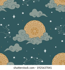 Seamless vector pattern with zodiac symbol and moon on teal blue background. Simple astronomy wallpaper design. Decorative horoscope fashion textile.