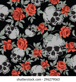 Seamless Vector Patterns With Grunge  Human Skulls and Vintage Roses