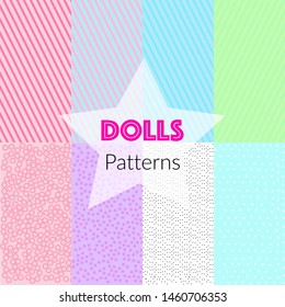 Seamless vector patterns in LOL doll style. Endless background with stripes and polka dots. Decor for children's birthday, L.O.L. Dolls girls party, gift wrapping