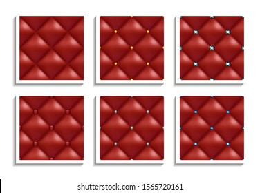 Seamless vector patterns of red leather upholstery with gold, silver, diamond buttons. Luxury textures of vintage furniture