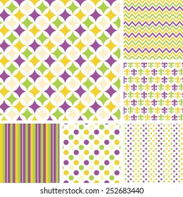 Seamless Vector Patterns Set Gold Purple and Green .EPS 10