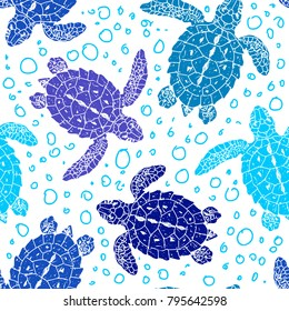Seamless vector patterns with turtles. Silhouette. Animal world under water. Ocean. Hand drawn illustration.