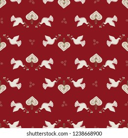 Seamless Vector Peaceful White Holiday Doves, Gingerbread Hearts, Berry Branches Green, Red + White. Great for Christmas, Valentine's Day, backgrounds, wallpaper, wrapping paper, crafts, fabric, etc.