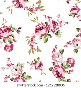 Seamless vector pink flowers white background