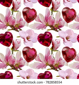 Seamless Vector Pink Magnolia And Heart Gems Pattern