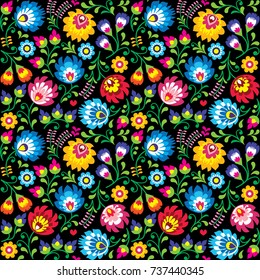 Seamless vector Polish folk art floral pattern - Wzory Lowickie, Wycinanki on black background   Repetitive colorful background with flowers - Slavic folk art pattern