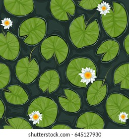 Seamless vector pond texture with white flowering water lilies and green leaves, top view