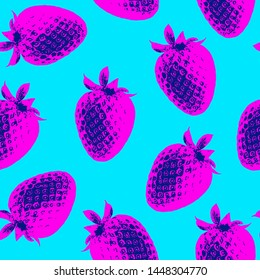 Seamless vector pop art pattern of pink strawberries randomly distributed on light blue background in vaporwave style.