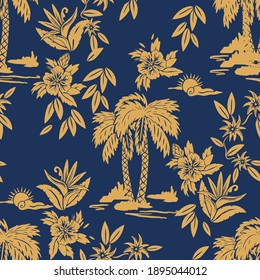 Seamless vector print designs with Hawaii, tropical, surf, palm tiki mask themed.