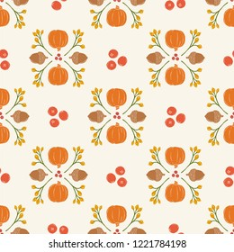 Seamless Vector Pumpkin, Acorn, Cranberry Damask in Bright Orange, Brown, Goldenrod, & Red. Great for Thanksgiving, seasonal, kitchen, & home decor, invitations, wallpaper, crafting, fabric, textiles.
