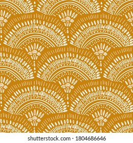 seamless vector repeat, abstract bohemian geometric pattern, in white on a mustard yellow background