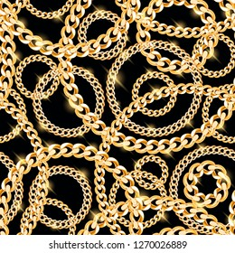 Seamless vector repeat pattern gold chains black background