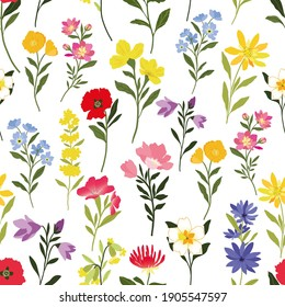 seamless vector repeat pattern with graphic wildflower elements arranged in a directional repeat on   a white background