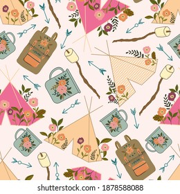 seamless vector repeat pattern with tents and camping equipment on an off white background