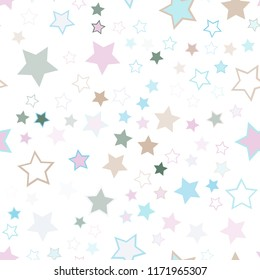 Seamless vector repetitive background with stars. Holiday joyful pattern with multicolored grey, blue, brown and pink vector stars on white background.
