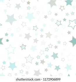 Seamless vector repetitive background with stars. Holiday joyful pattern with multicolored grey and blue vector stars on white background.