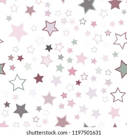 Seamless vector repetitive background with stars. Holiday joyful pattern with multicolored grey, pink, purple vector stars on white background.