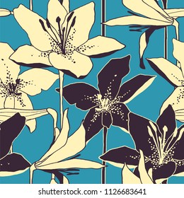 seamless vector retro pattern with hand drawn lily flowers. design for packaging, textile, interior