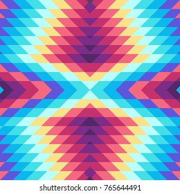 Seamless Vector Rhombuses Pattern for Textile Design. Stylish Modern Art. Psychedelic Mix