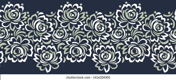 Seamless vector rose flower border design