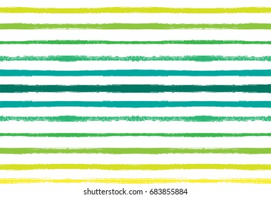 Seamless vector sailor stripes summer pattern for fabric, print, textile. Hand painted graffiti abstract green, yellow, white stripes. Hipster fashion colorful smeared ink traces. Grunge vintage lines