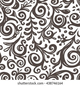 Seamless Vector Scroll Pattern for Textile Design. Black and White Vintage Background
