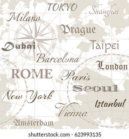 Seamless vector sea map with compass, city names: Tokyo, Milan, Shanghai, Prague, Dubai, Barcelona, Taipei, London, Paris, Rome, Seoul, New York, Istanbul, Vienna, Amsterdam. For textiles, wallpaper.