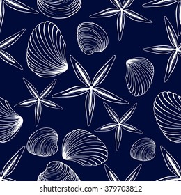 Seamless vector sea shell pattern
