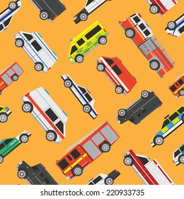 Seamless vector service cars pattern