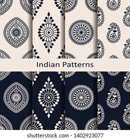 seamless vector set of eight indian circle element patterns. seamless template in swatch panel. design for print, textile, woodblock