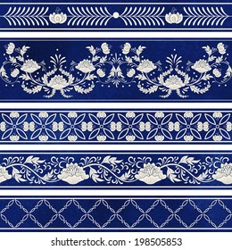 Seamless vector set of five borders. Ornament in chinese style. Elegant floral design.  Imitation of chinese porcelain painting. Blue watercolor background. Hand drawing.