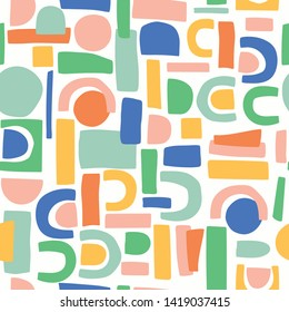 Seamless vector shapes repeat pattern design. Fun for a variety of products. Easy to use repeat pattern.