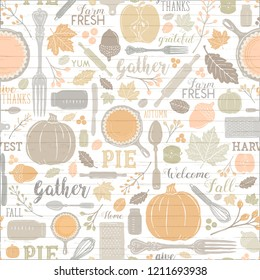 Seamless Vector Shiplap Autumn Leaves & Pumpkin Apple Pie Baking Pattern in Warm Pastel Fall Colors. Great for backgrounds, stationery, home decor, textiles, fabrics, greeting cards, & paper crafting.