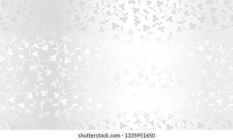 Seamless vector silver texture floral pattern. Luxury repeating damask platinum background. Premium wrapping paper or silk metallic cloth