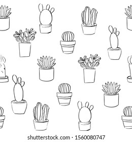 Seamless vector sketched pattern with isolated potted plants