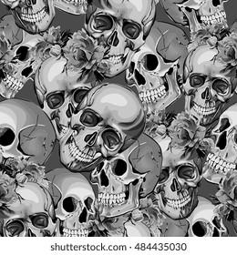 Seamless Vector Skulls In Flowers Pattern