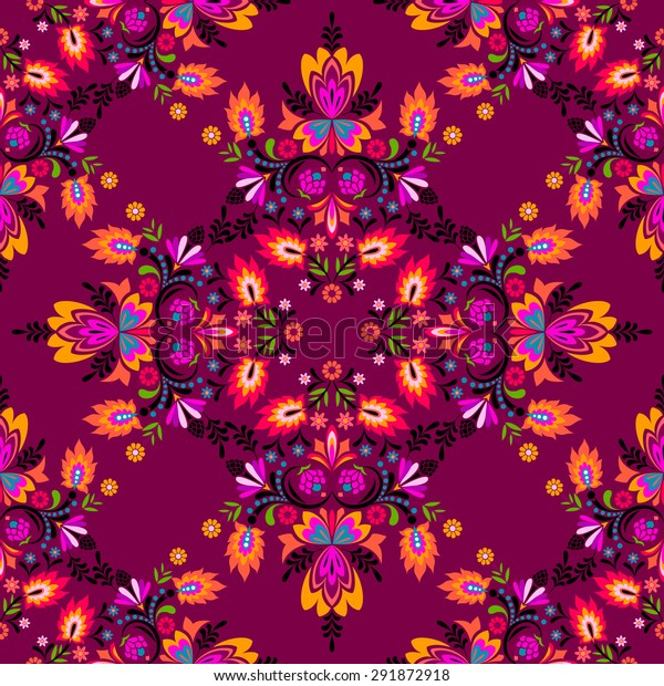 seamless vector spanish latin folk pattern. red spicy decorative floral motifs and swirls.