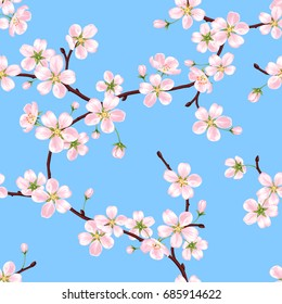 Seamless vector spring pattern from the branches of a blossoming apple tree with pink petals against the blue sky