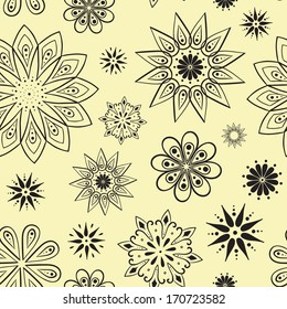Seamless vector star flower pattern.